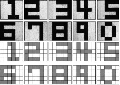 연구팀이 개발한 화상인식 시스템은 실제 이미지(위)를 인식한 뒤 5×6픽셀의 이미지로 단순화시켜 멤리스터에 저장하고 비교, 분석한다. - GIST 제공
